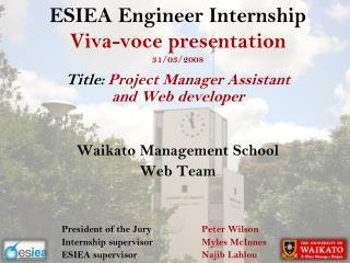 ESIEA  Engineer Internship  Viva-voce presentation 31/03/2008
