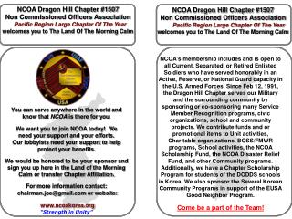 NCOA Dragon Hill Chapter #1507  Non Commissioned Officers Association