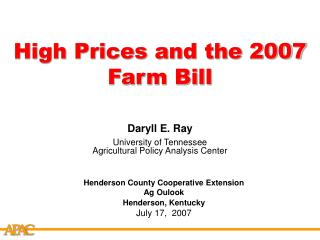 High Prices and the 2007 Farm Bill