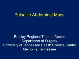 Pulsatile Abdominal Mass