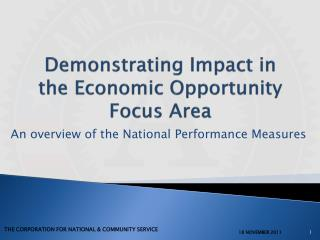 Demonstrating Impact in the Economic Opportunity Focus Area