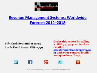 Revenue Management Market to reach USD6.35 billion by 2018