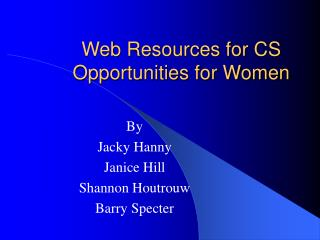 Web Resources for CS Opportunities for Women