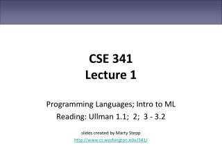 CSE 341 Lecture 1