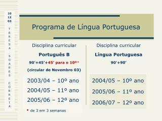 Programa de L ngua Portuguesa