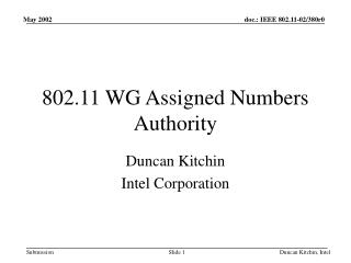 802.11 WG Assigned Numbers Authority