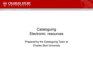 Cataloguing  Electronic  resources