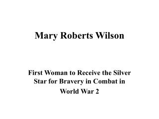 Mary Roberts Wilson