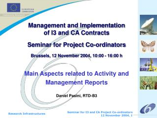 Main Aspects related to Activity and Management Reports