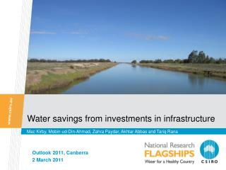 Water savings from investments in infrastructure