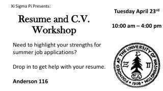 Resume and C.V. Workshop