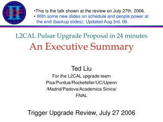 L2CAL Pulsar Upgrade Proposal in 24 minutes An Executive Summary