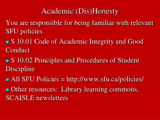 Academic (Dis)Honesty
