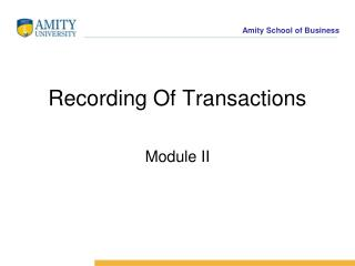 Recording Of Transactions