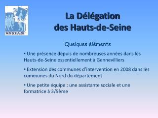 La Délégation  des Hauts-de-Seine