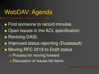 WebDAV: Agenda
