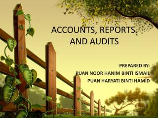 ACCOUNTS, REPORTS               AND AUDITS