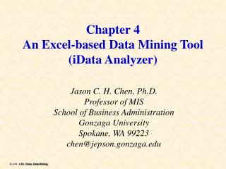 Chapter 4 An Excel-based Data Mining Tool iData Analyzer