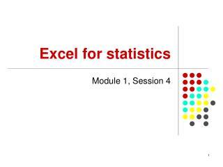 Excel for statistics