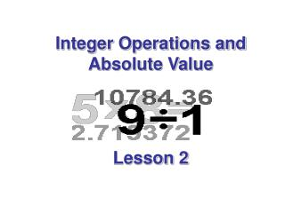 Integer Operations and Absolute Value Lesson 2