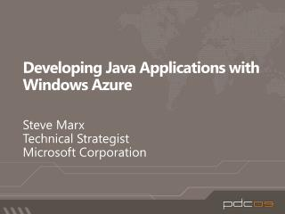 Developing Java Applications with Windows Azure