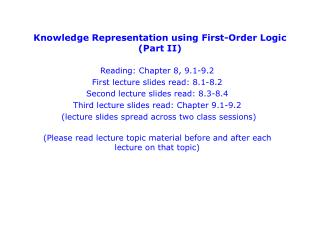 Knowledge Representation using First-Order Logic (Part II)
