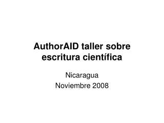 AuthorAID taller sobre escritura científica