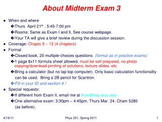 About Midterm Exam 3
