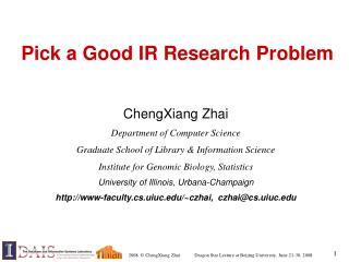 Pick a Good IR Research Problem