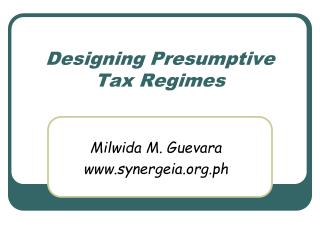 Designing Presumptive Tax Regimes
