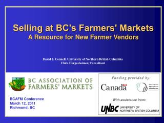 Selling at BC's Farmers' Markets A Resource for New Farmer Vendors