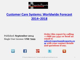 2018 Forecasts on Customer Care Software Systems Industry