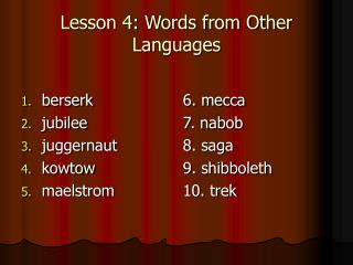 Lesson 4: Words from Other Languages