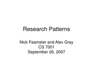 Research Patterns