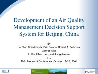 Development of an Air Quality Management Decision Support System for Beijing, China
