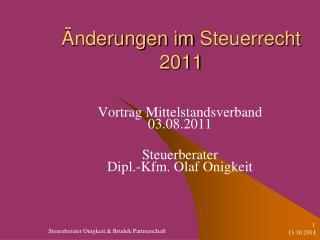�nderungen im  Steuerrecht 2011