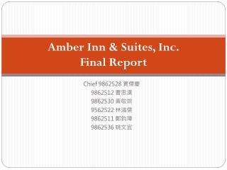 Amber Inn & Suites, Inc. Final Report