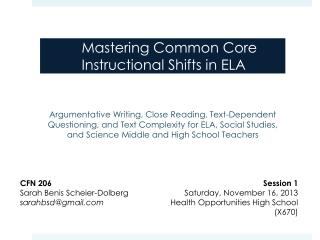 Mastering Common Core Instructional Shifts in ELA
