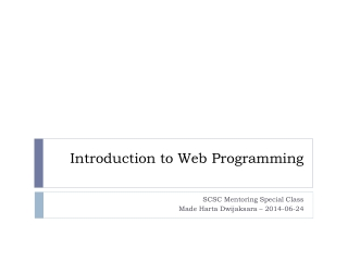 Tutorial 1 Introduction to JavaScript  Section A   Programming, HTML, and JavaScript