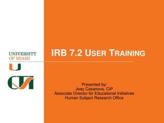 IRB 7.2 User Training