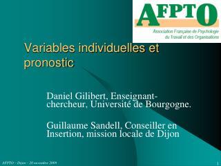 Variables individuelles et pronostic