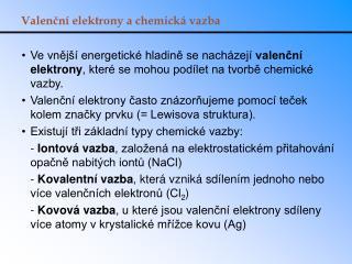 Valenční elektrony a chemická vazba
