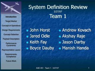 System Definition Review 3/27/07 Team 1