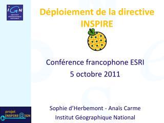 Déploiement de la directive INSPIRE