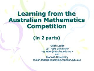 Learning from the Australian  Mathematics Competition (in 2  parts)
