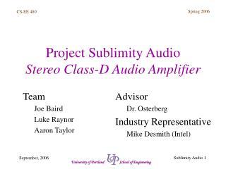 Project Sublimity Audio Stereo Class-D Audio Amplifier