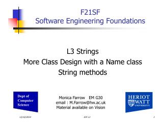 F21SF Software Engineering Foundations