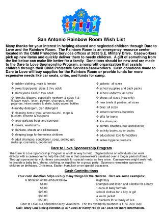 San Antonio Rainbow Room Wish List