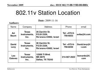 802.11v Station Location