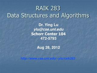 RAIK 283 Data Structures and Algorithms